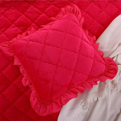 2018新款单品法莱绒方垫套 48x48cm/对 玫红色