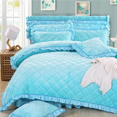 2018新款法莱绒夹棉四件套 1.5m床 夹棉被套  湖蓝色