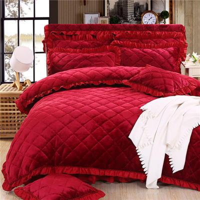 2018新款法莱绒夹棉四件套 1.5m床 夹棉被套  酒红色