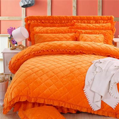 2018新款法莱绒夹棉四件套 1.5m床 夹棉被套  橘黄色