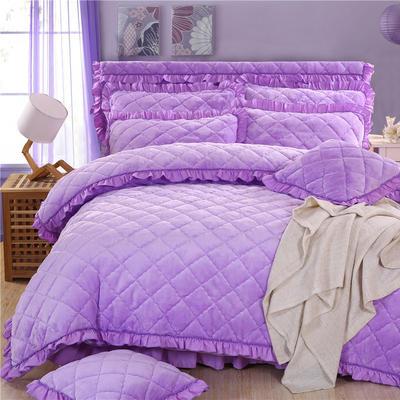 2018新款法莱绒夹棉四件套 1.5m床 夹棉被套  浅紫色