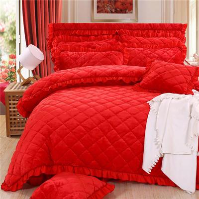 2018新款法莱绒夹棉四件套 1.5m床 夹棉被套 大红色