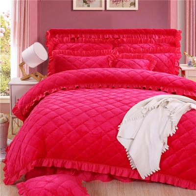 2018新款法莱绒夹棉四件套 1.5m床 夹棉被套 玫红色