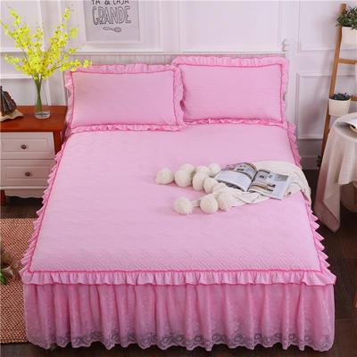 2018新款水洗棉蕾丝款绗绣夹棉床裙 150*200+45cm 粉色