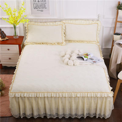 2018新款水洗棉蕾丝款绗绣夹棉床裙 150*200+45cm 米黄色