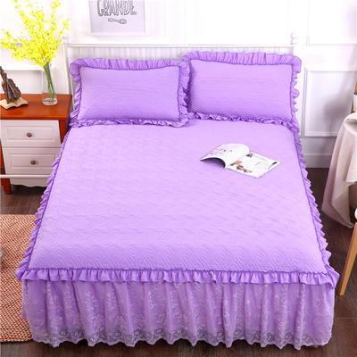 2018新款水洗棉蕾丝款绗绣夹棉床裙 150*200+45cm 紫色