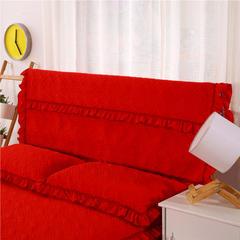 2018新款水洗棉蕾丝款绗绣夹棉床头罩 120cm*55cm 大红色