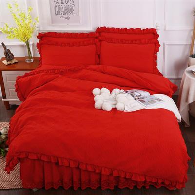 2018新款水洗棉蕾丝款绗绣夹棉被套 220x240cm(无现货,需定做) 大红色