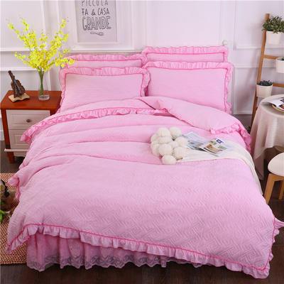 2018新款水洗棉蕾丝款绗绣夹棉被套 200X230cm 粉色
