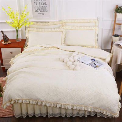 2018新款水洗棉蕾丝款绗绣夹棉被套 220x240cm(无现货,需定做) 米黄色