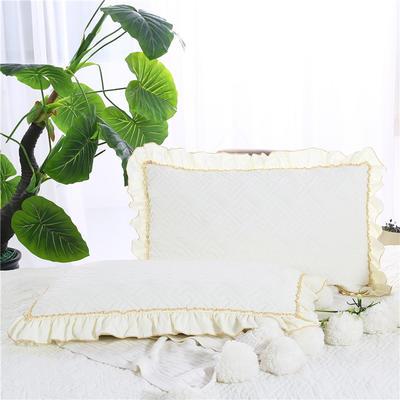 2018新款单品水洗棉蕾丝款绗绣夹棉枕套 48cmX74cm 米黄色