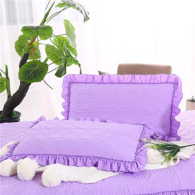 2018新款单品水洗棉蕾丝款绗绣夹棉枕套 48cmX74cm 紫色