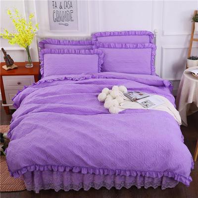 2018新款水洗棉蕾丝款绗绣夹棉四件套 1.5m床 紫色