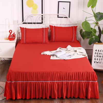 2018新款水洗磨毛单床裙-爱的旋律 150*200+45cm 大红