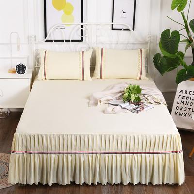 2018新款水洗磨毛单床裙-爱的旋律 150*200+45cm 米黄