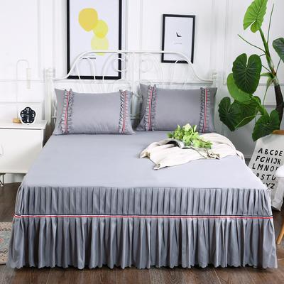 2018新款水洗磨毛单床裙-爱的旋律 150*200+45cm 银灰