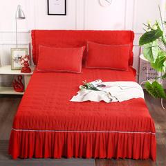 2018新款水洗磨毛夹棉床裙-爱的旋律 120*200+45cm 大红