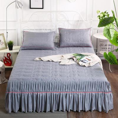 2018新款水洗磨毛夹棉床裙-爱的旋律 120*200+45cm 银灰