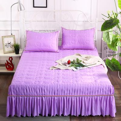 2018新款水洗磨毛夹棉床裙-爱的旋律 120*200+45cm 紫色