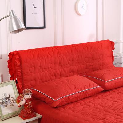 2018新款洗磨毛夹棉全包床头罩-爱的旋律 120cm*60cm 大红