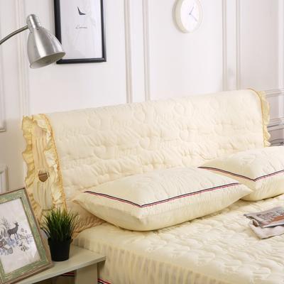 2018新款洗磨毛夹棉全包床头罩-爱的旋律 120cm*60cm 米黄