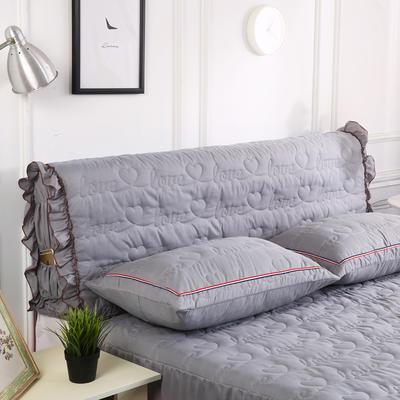 2018新款洗磨毛夹棉全包床头罩-爱的旋律 120cm*60cm 银灰
