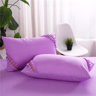 2018新款水洗磨毛单枕套-爱的旋律 48cmX74cm/对 紫色