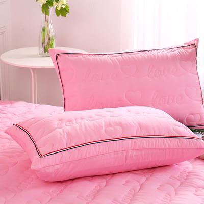 2018新款单品水洗磨毛夹棉枕套-爱的旋律 48cmX74cm/对 粉红
