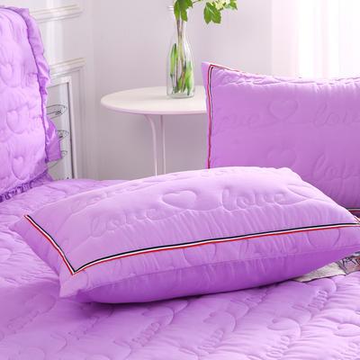 2018新款单品水洗磨毛夹棉枕套-爱的旋律 48cmX74cm/对 紫色