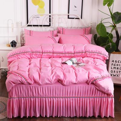 2018新款水洗磨毛夹棉床裙四件套-爱的旋律 1.5m床 粉红