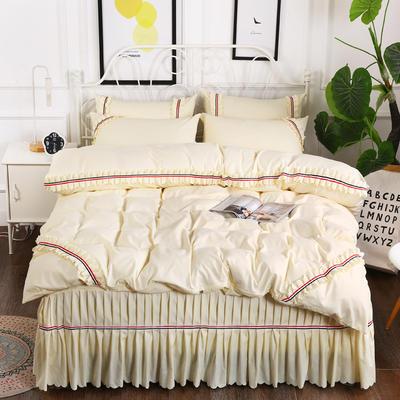 2018新款水洗磨毛夹棉床裙四件套-爱的旋律 1.5m床 米黄