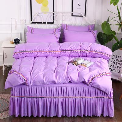 2018新款水洗磨毛夹棉床裙四件套-爱的旋律 1.5m床 紫色