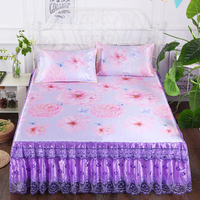 2019新款床裙款冰丝布艺软凉席三件套 120*200cm单床裙 花之恋-紫