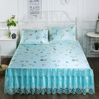 2019新款床裙款冰丝布艺软凉席三件套 120*200cm单床裙 欢乐时光-蓝