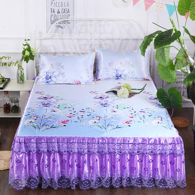 2019新款床裙款冰丝布艺软凉席三件套 120*200cm单床裙 倾城之恋-紫