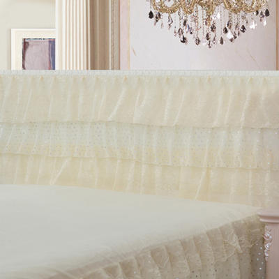 2019新款新款蕾丝床头罩系列-时尚波点 120*50cm 米黄色