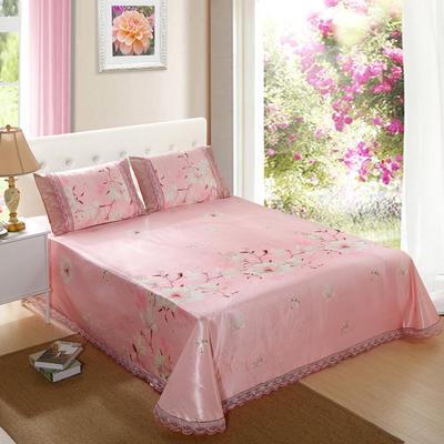 2019新款床单款冰丝凉席三件套 250*250cm 粉色回忆