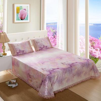 2019新款床单款冰丝凉席三件套 250*250cm 紫色恋人