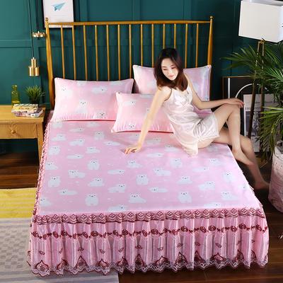 2019新款床裙款冰丝软凉席三件套 150*200cm三件套 快乐小熊-清新粉