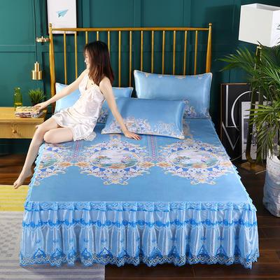 2019新款床裙款冰丝软凉席三件套 150*200cm三件套 欧美风情