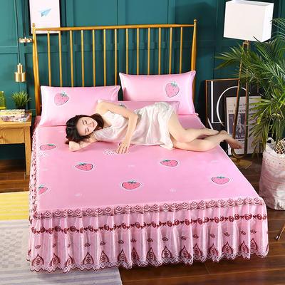 2019新款床裙款冰丝软凉席三件套 150*200cm三件套 甜心草莓