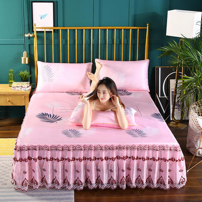 2019新款床裙款冰丝软凉席三件套 150*200cm三件套 叶之舞-粉