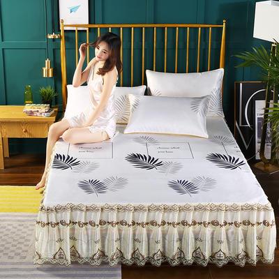 2019新款床裙款冰丝软凉席三件套 150*200cm三件套 叶之舞-米黄