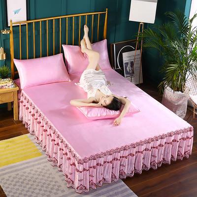 2019新款纯色床裙款冰丝软凉席三件套 150*200cm三件套 粉色