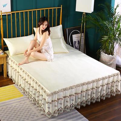 2019新款纯色床裙款冰丝软凉席三件套 150*200cm三件套 米黄