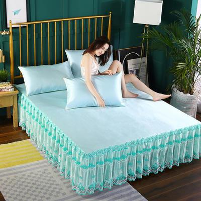 2019新款纯色床裙款冰丝软凉席三件套 150*200cm三件套 水绿