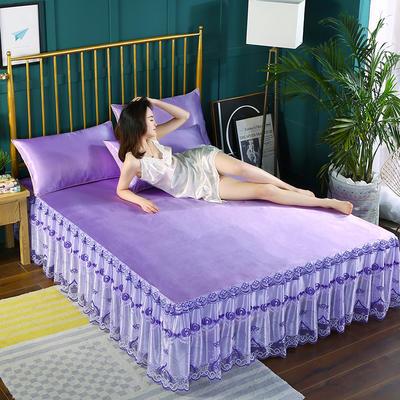 2019新款纯色床裙款冰丝软凉席三件套 150*200cm三件套 紫色