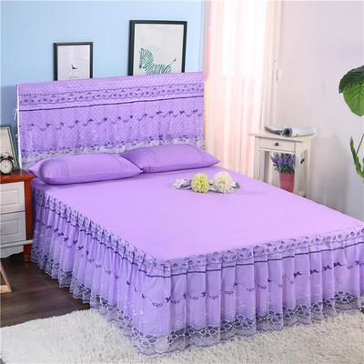 2019新款蕾丝床裙(春光明媚) 150*200+45cm三件套 春光明媚(紫色)