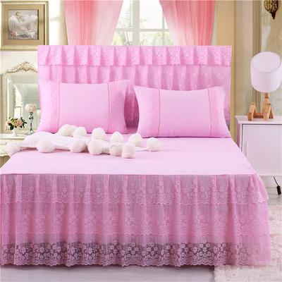 2019新款蕾丝床裙(春暖花开) 150*200+45cm单床裙 春暖花开(粉色)
