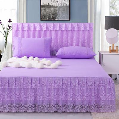 2019新款蕾丝床裙(春暖花开) 150*200+45cm单床裙 春暖花开(紫色)
